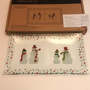 Pampered Chef - Snowmen Dots Divided Platter